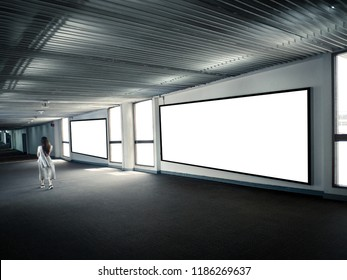 Blank display in airport terminal.advertisement and Tourist information message and free tax goods promotion.Banner for Sale and Shopping objects.