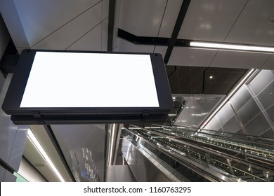 Blank display screen at the subway underground platform.