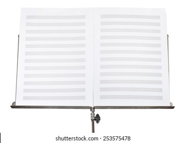 blank double pages of music book on music stand close up isolated on white background