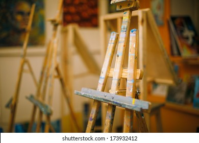 Blank easel in the studio