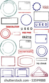 Blank editable passport stamps on a white background