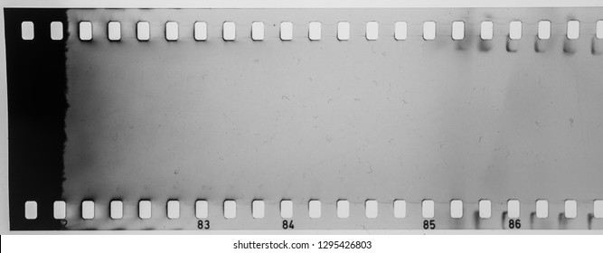 blank and empty 35mm black and white film material or long strip, exposed photo strip