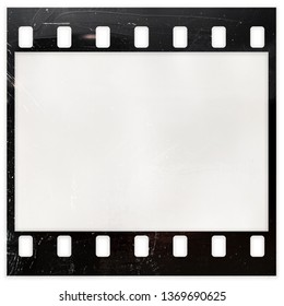 blank or empty 35mm filmstrip on white background, real film material 135 type