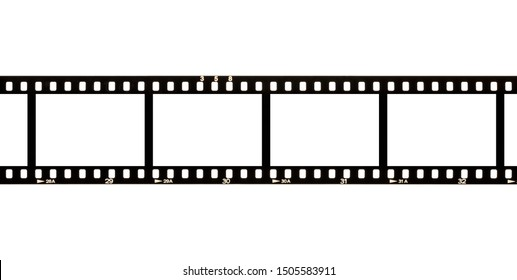 Blank, empty analog photography camera negative film strip with copy space for image templates isolated on white background