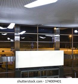 Blank. Empty billboard at a international airport