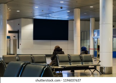 Blank empty digital billboard for your advertising on publicity content in waiting hall. black Mock up electronic media board with copy space for your design information