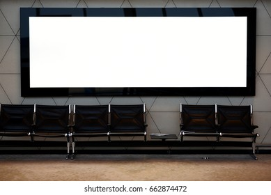 Blank empty digital billboard for your advertising on publicity content in waiting hall. White Mock up electronic media board with copy space for your design information