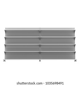 Blank Empty Long Showcase Display With Retail Shelves. 3D Render. Mock Up, Template. Illustration Isolated On White Background. Ready For Your Design. Product Advertising.