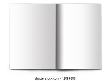 Blank / empty magazine spread isolated on white background. It's easy to add your design to these pages.