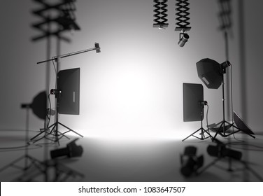 A blank and empty photography studio setup. 3D illustration