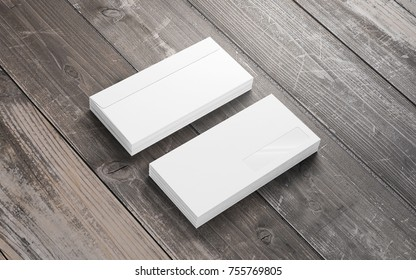 Blank envelopes on grunge wooden background. Template to showcase your presentation.