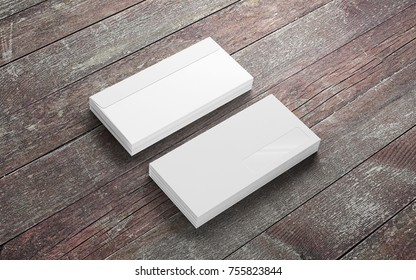 Blank envelopes on old wooden desk. Template to showcase your presentation.