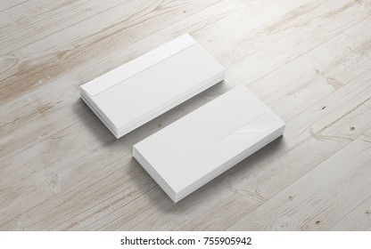 Blank envelopes on the wooden background. Template to showcase your presentation.