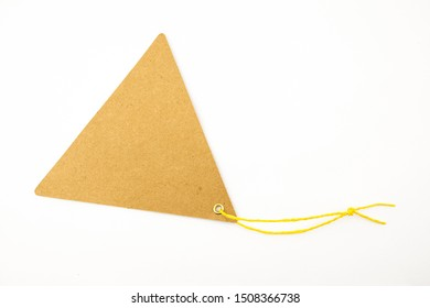 Blank equilateral triangles paper price tag or label on white background