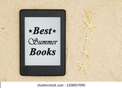 A blank e-reader on the beach for your summer reading with five starfish reviews with text Best Summer Books