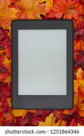A blank e-reader on fall leaves for your autumn reading that you can use as a mock up for your message