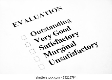 Blank evaluation with the focus being on the words very good and satisfactory.