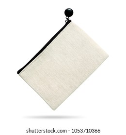 Blank fabric bag isolated on white background. Zipper bag made from linen fabric material. ( Clipping path )
