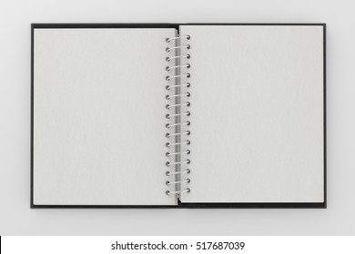 Blank facing pages of notebook on a spring with leather cover. Mock up isolated on white background include clipping path on the edge of the notebook. 3d render