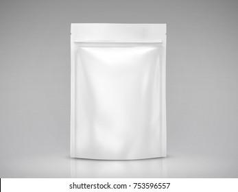 Blank foil bag mockup, white package for design uses in 3d illustration