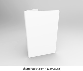 Blank folded card standing on a grey background with room for your text or image