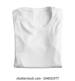 Blank folded t-shirt isolated on a white background