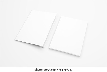Blank folder and letterhead isolated on white to showcase your presentation.