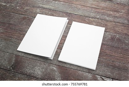 Blank folder and letterhead on wooden desk to showcase your presentation.