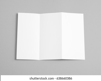 Blank folding page booklet on grey background