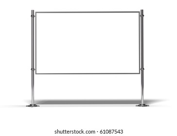 blank frame with two posts image is isolated over white with shadow
