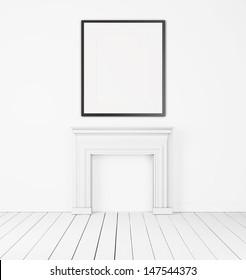blank frame in white interior