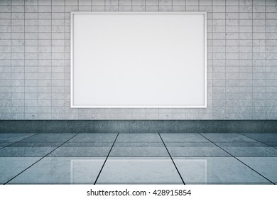 Blank framed banner in metro station interior with tile wall and floor. Mock up, 3D Rendering