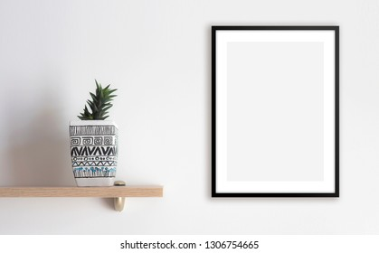 Blank framed poster on the wall, mock up