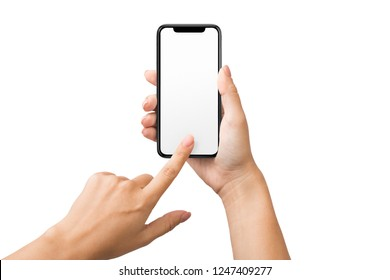 Blank frameless smartphone in female hands, empty screen for mockup, isolated on white background