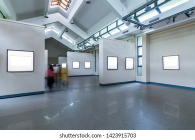 blank frames on exhibition room,  fro painting or photography on wall, clipping path included