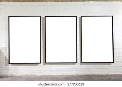 Blank frames on the wall at art museum