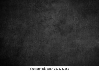 Blank front Real black chalkboard background texture in college concept for back to school kid wallpaper for create white chalk text draw graphic. Old back wall education blackboard. Food backdrop.
