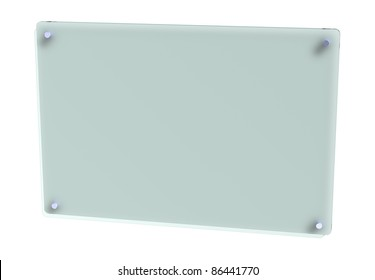 Blank frosted glass office sign panel isolated on white background, photo-real 3D.
