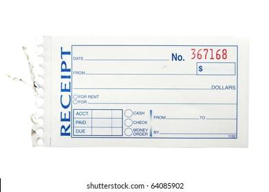 blank generic paper receipt, on white