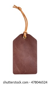 blank genuine brown leather luggage tag isolated on white, with clipping path