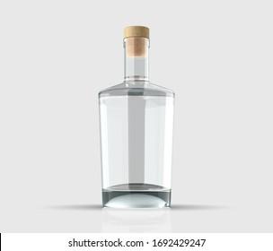 Blank Gin bottle. Liquor drink mockup.