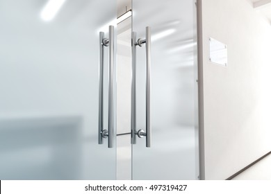 Blank glass door with metal handles mock up, 3d rendering. Office entrance with space sign board on wall mockup. Opened luxury hall doorway with transparent surface .