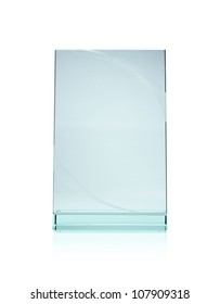 Blank glass plate award with copy space isolated on white background