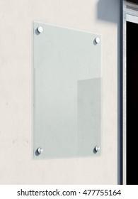 Blank glass signboard on the bright wall . 3d renderign