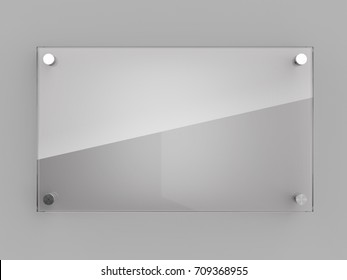 Blank glass wall plate with light reflection. 3D illustration.