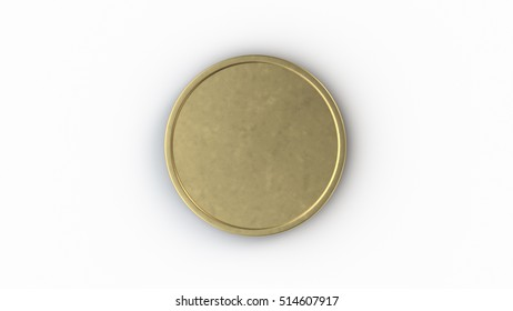 Blank gold coin 3D illustration