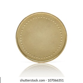 Blank gold coin or medal isolated on white background