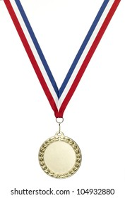 A blank gold sports medal with clipping path isolated on white with copy space