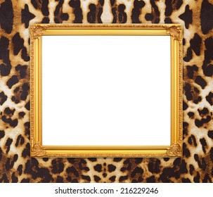 blank golden frame with leopard texture background