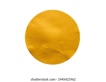 Blank golden round adhesive paper sticker label isolated on white background
